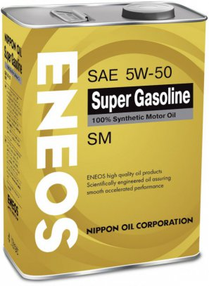 ENEOS Super Gasoline 100% Synthetic Motor Oil SM 5W-50 масло моторное синтетическое, 4л