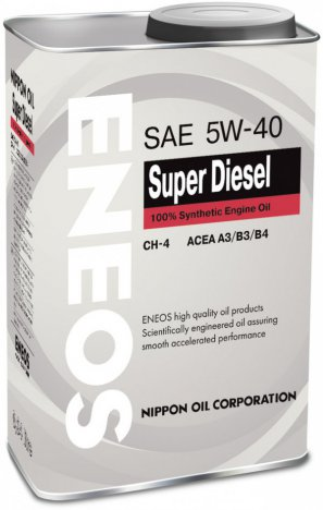 ENEOS Super Diesel 100% Synthetic Engine Oil CH-4 5W-40 масло моторное синтетическое, 0,94л